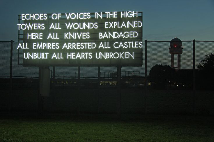Echoes of Voices -- http://andberlin.com/2012/08/21/robert-montgomery-echoes-of-voices-in-the-high-towers/