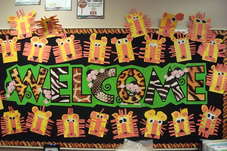 animal print bulletin board, want the monkey welcome sign!