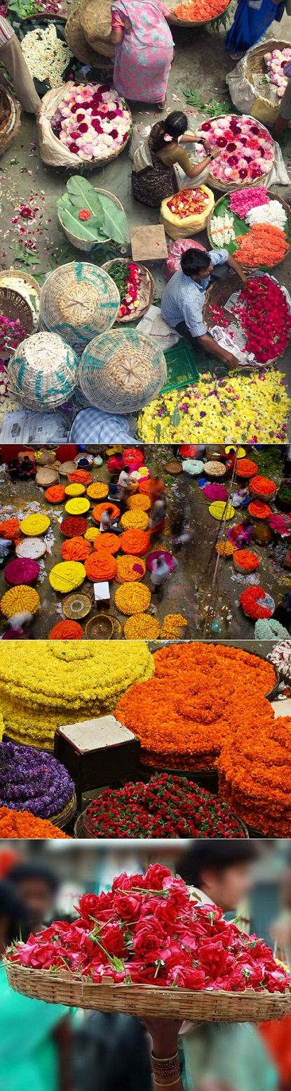Mercado de las flores en India.