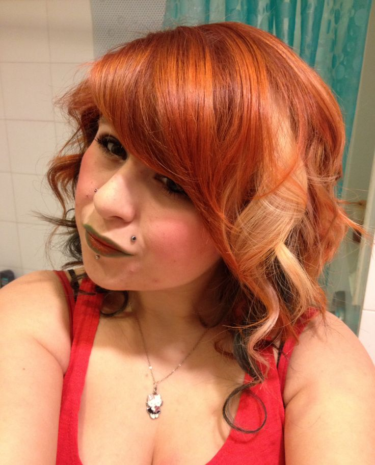 Copper Hair with blonde and blue brown underneath.