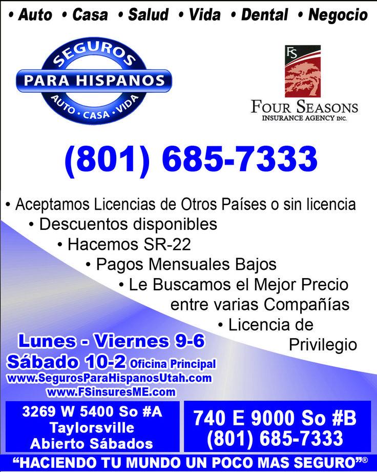 SEGUROS PARA UTAH, cuando necesitas un seguro de auto, casa, vida, negocio, asegurate de llamar a Seguros para Hispanos
