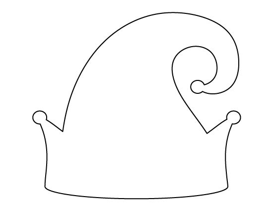 Elf hat pattern. Use the printable outline for crafts, creating stencils, scrapbooking, and more. Free PDF template to download and print at http://patternuniverse.com/download/elf-hat-pattern/