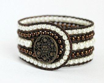 five row wrap bracelet | Pearl Beaded Leather Cuff, 5 Row, Wrap Bracelet, Cream, Chocolate ...