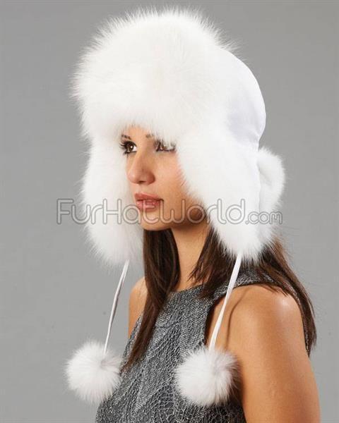Шапка ушанка белая женская