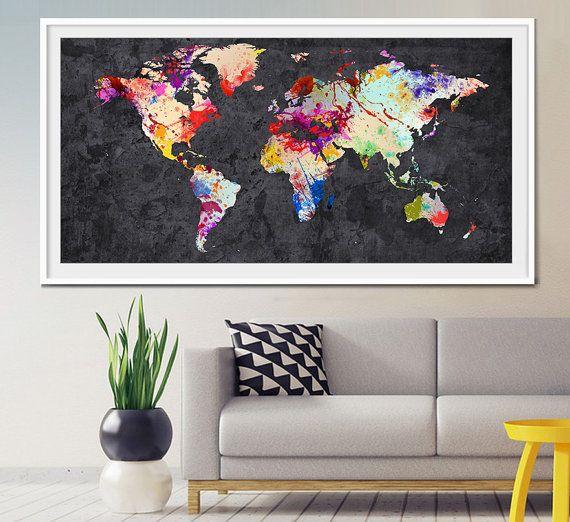 World Map Art Home Decor Large World Map Art World by MyVisualArt