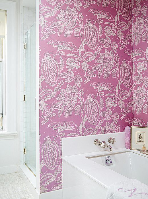 447 best color brights images on pinterest decorating for Bright bathroom wallpaper