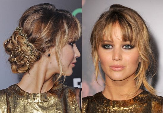 Love everything about this look.  The romantic hair, the smokey makeup, Jennifer Lawrence's lovely bone structure.  Perfection!