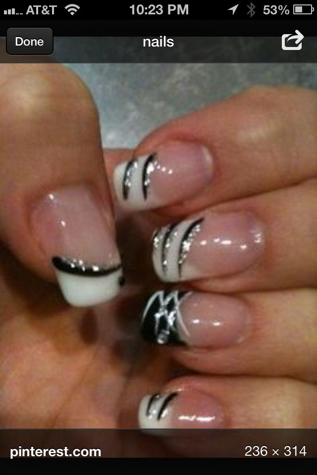Fancy Black And White French Nail Designs Pattern - Nail Art Design ...