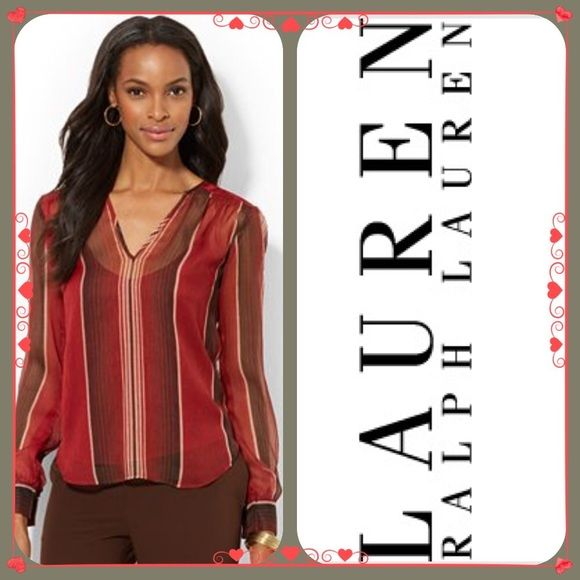 LRL SHEER STRIPED BLOUSE ~ NWT STUNNING SHEER STRIPE BLOUSE W/RED CAMI ~ Dress up or down in this gorgeous sheer blouse ~ Pullover ~ #2649  Trades or Holds ✅ Use offer option ❤️ Bundles Ralph Lauren Tops Blouses