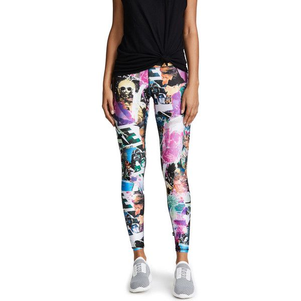 Terez Star Wars Scrapbook Tall Band Leggings ($83) ❤ liked on Polyvore featuring pants, leggings, star wars scrapbook, white pants, jersey pants, graphic leggings, terez leggings and print leggings
