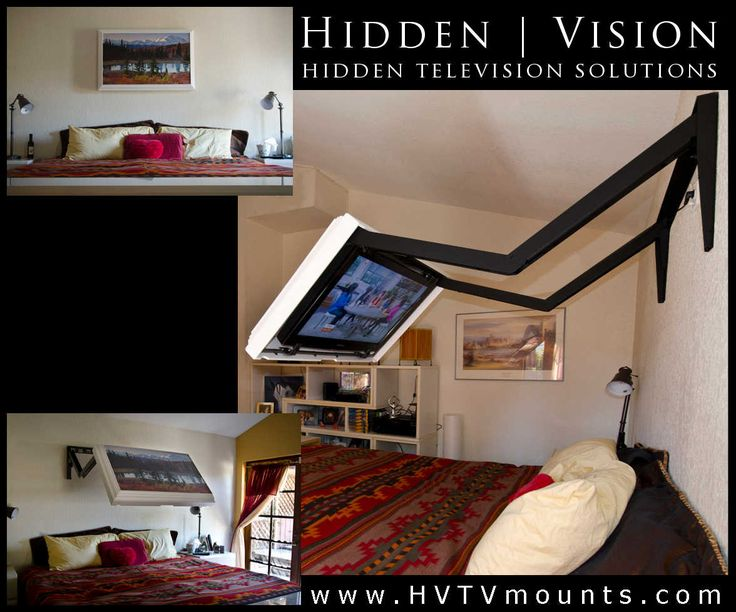 Extends your TV over your bed then folds back to the wall where the TV and mount are completely hidden by the picture frame