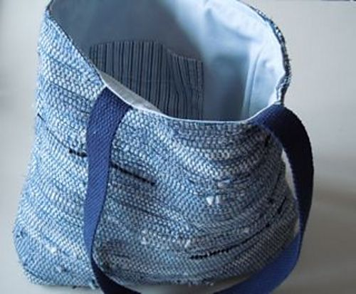 """Blue Sakiori (rag) """"Muscle"""" Bag. This bag is handwoven Saori style from recycled men's shirts. I call this a muscle bag because of a label I found inside the shirt! http://www.serendipitysaoristudio.com"""