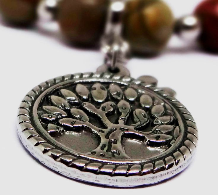 Womens Picasso Jasper Bracelet-316L Stainless Steel Tree of Life-Dragonfly Charm