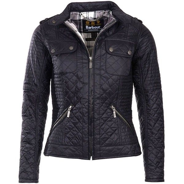 Women's Barbour International Kleeton Quilted Jacket - Black ($170) ❤ liked on Polyvore featuring outerwear, jackets, lightweight quilted jacket, studded leather jacket, light weight jacket, lightweight motorcycle jacket and short-sleeve jackets