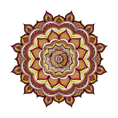Fototapeta wektor ręcznie rysowane doodle mandalę. etniczne mandala z kolorowym ornamentem. odosobniony. żółty, pomarańczowy, różowy, czerwony, biały i czarny kolor. - mandala • PIXERS.pl