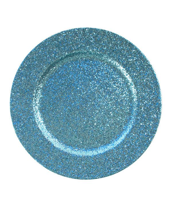 Look at this #zulilyfind! Blue Glitter Charger Plate - Set of Four by Jay Import #zulilyfinds