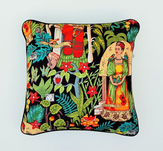 Frida Kahlo cushion cover in stunning colours to brighten your home , festive , fun for Frida Lovers. A perfect gift for any Frida Devotie