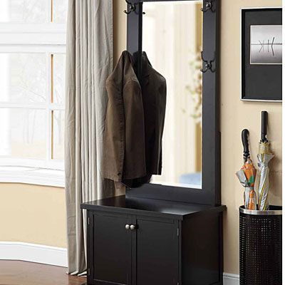 Large Beveled Mirror Four Hooks For Easy Storage Spacious