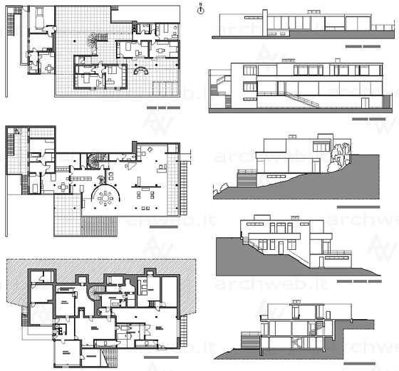 Mies van der Rohe; Villa Tugendhat, Plans and elevations, Czech, 1930