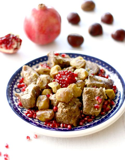 AZ Cookbook - Food From Azerbaijan & Beyond » It's Nar Time! Braised Lamb with Pomegranates and Chestnuts