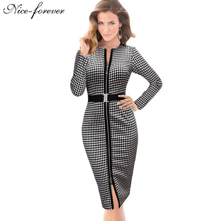 Elegant Solid Round Neck Full Sleeve Business Formal Bandage Dress