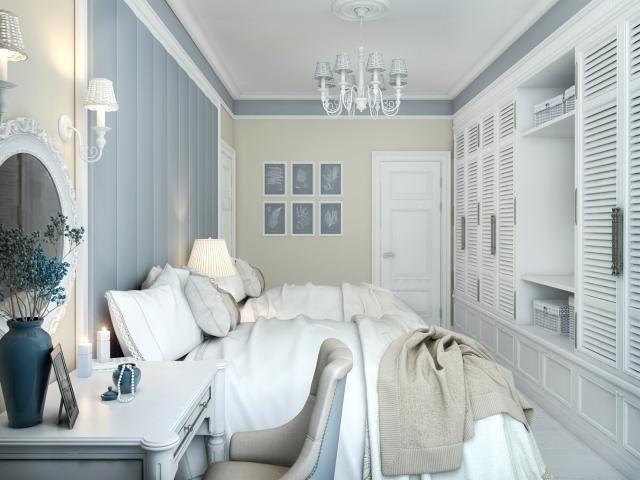Небольшая спальня в деревенском стиле в приглушенных тонах: фото