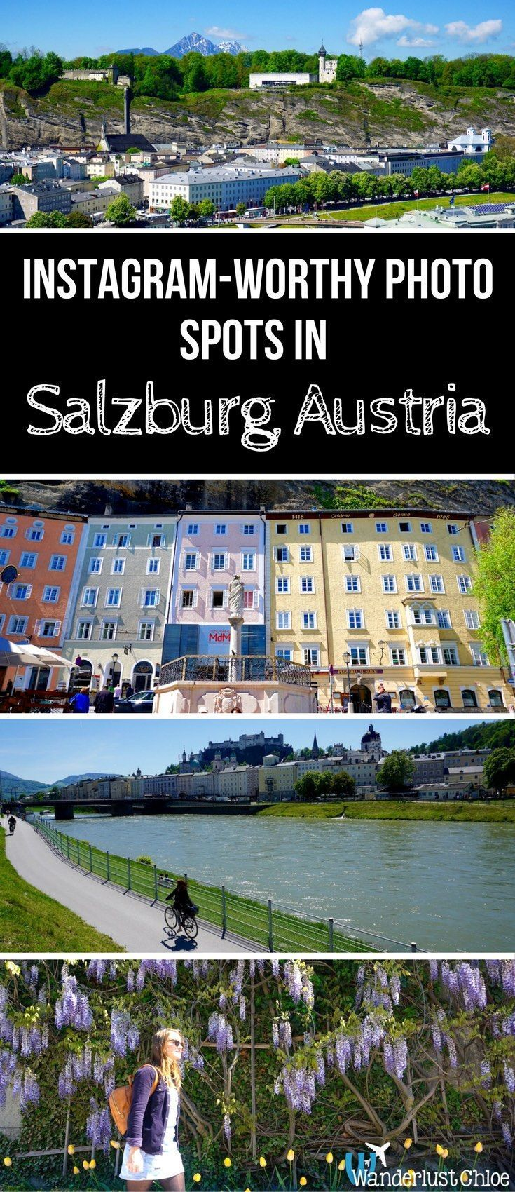 Instagram-Worthy Photo Spots In Salzburg, Austria. Get ready to snap some beautiful photos of Salzburg, Austria! Grab your camera and let's go in search of the best views of the city. https://www.wanderlustchloe.com/salzburg-austria-views/