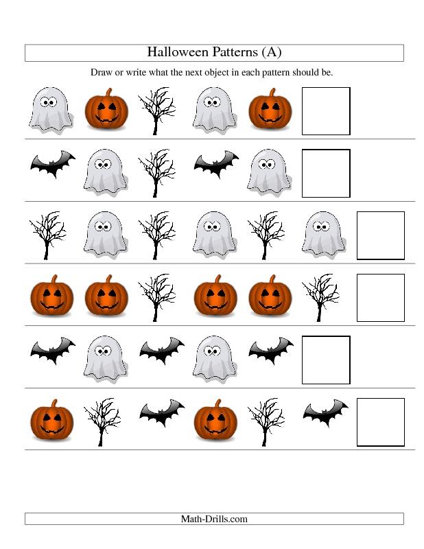 Halloween Math Worksheet Picture Patterns One