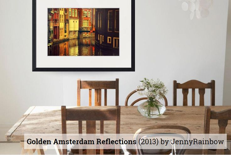 Golden Amsterdam Reflections by Jenny Rainbow - how looks framed print in interior.  Old picturesque Amsterdam houses with traditional Dutch architecture reflecting in the water of the canal in golden light.   Prints available as framed prints, metal prints, wood prints, acrylic prints and canvas in different sizes.___  Jenny Rainbow Fine Art Photography, Framed print, Amsterdam,Fine Art,Wall art, home decor,art for home