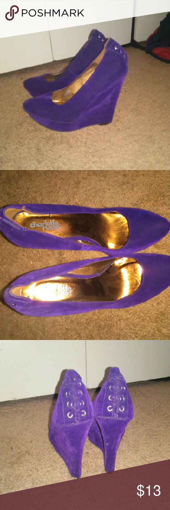 Charlotte russe womens wedges size 6 Suede . nwt. Purple Charlotte Russe Shoes Wedges