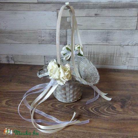 Romantikus Rusztikus esküvői koszorúslány sziromszóró kosár, Esküvő, Meghívó, ültetőkártya, köszönőajándék, Esküvői dekoráció, Esküvői csokor, Meska