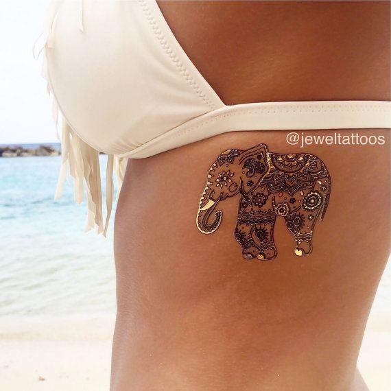 Henna Tattoo Metallic Tattoo Elephant Tattoo by JewelTats on Etsy
