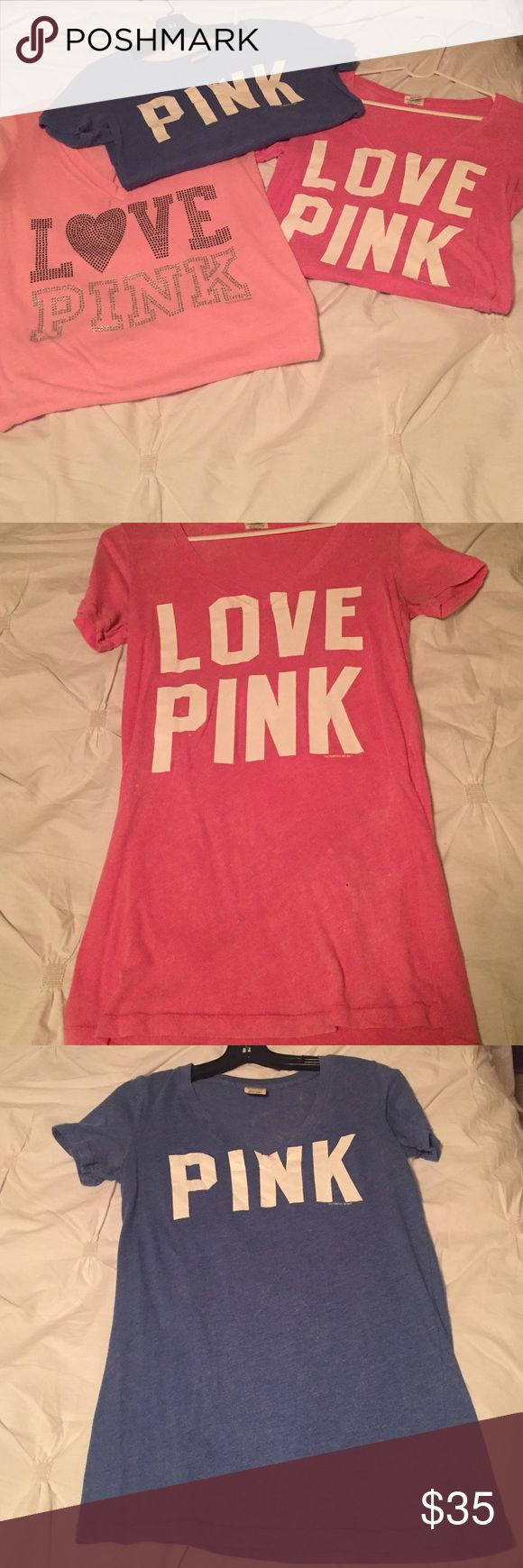 Bundle of 3 PINK shirts (sizes xs-s) but all fit like a small. Signs of light wear but still in good shape! PINK Victoria's Secret Tops
