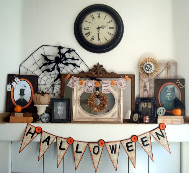 decorating on a dime or even less vintage victorian halloween mantel