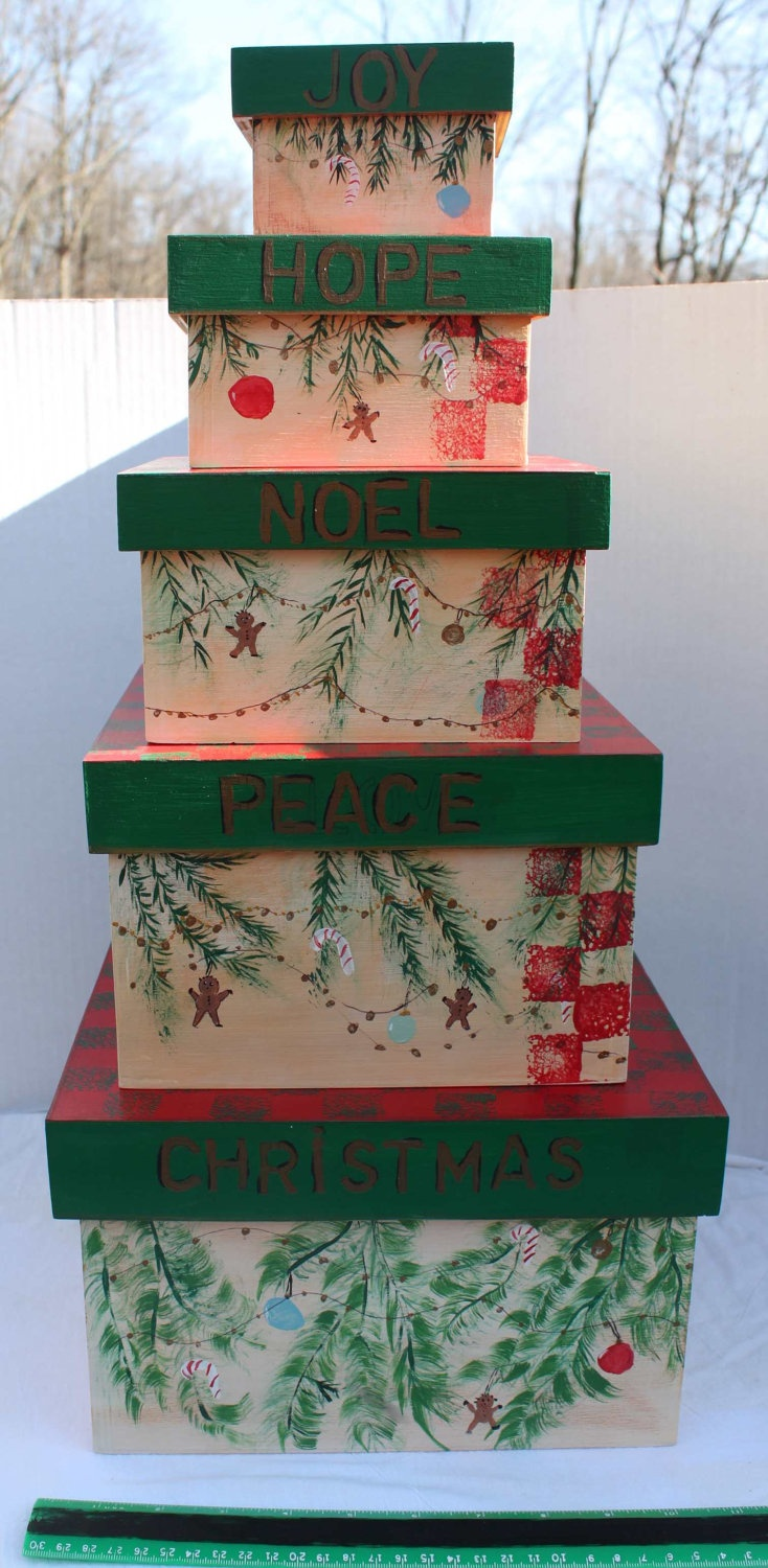 Stacking nesting wood boxes christmas keeper set of by