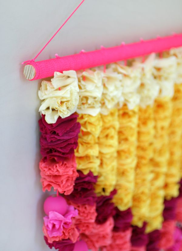 Crepe Paper Petals Wall Hanging   Oh Happy Day!