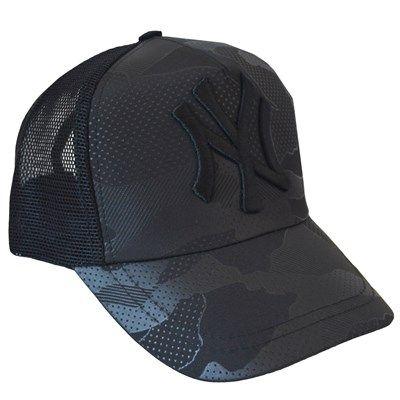 Erkek NY Logolu Fileli Kamuflaj Spor Cap Şapka Siyah