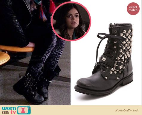 Aria's studded boots on Pretty Little Liars.  Outfit Details: http://wornontv.net/33379/ #PLL