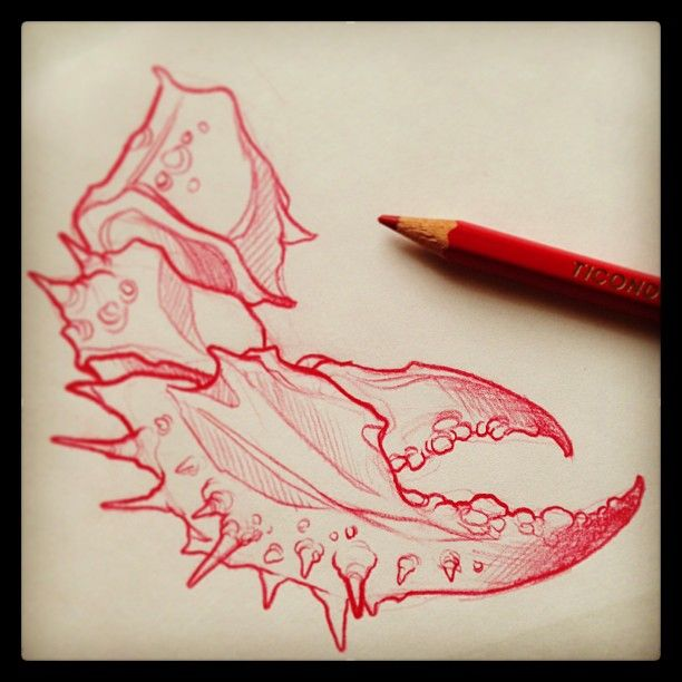gnarly crab claw tattoo for later this week. pinch. mike moses www.thedrowntown.com