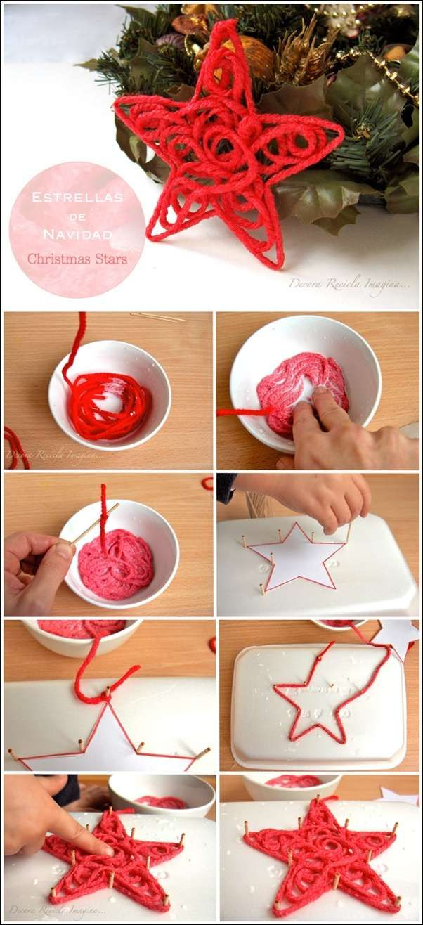 Image Source:  decorareciclaimagina To make these ornaments you will require some red colored yarn, white glue, toothpicks, a polystyrene tray, a bowl and water. First mix some water and glue in equal
