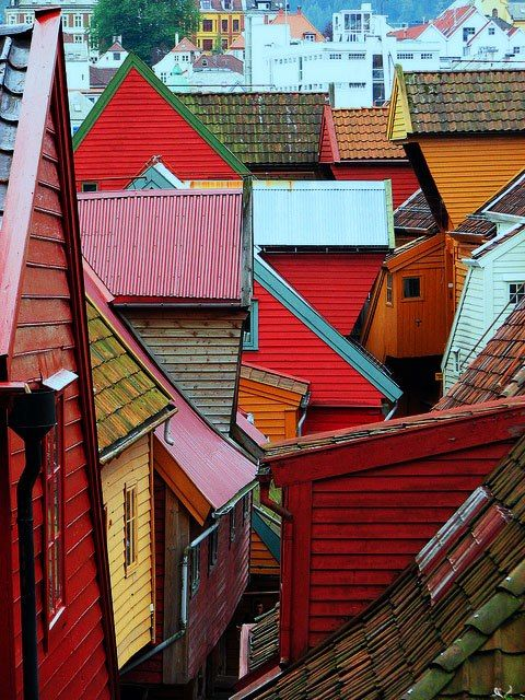 Rooftops of Bergen, Norway Want to go here? Our awesome travel agents can hook you up! http://www.cruisemagic.com                                                                                                                                                     More
