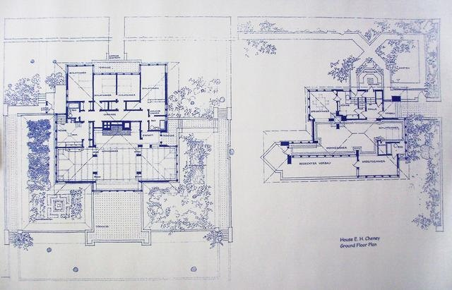 Frank Lloyd Wright Cheney House Floor Plan Blueprint With