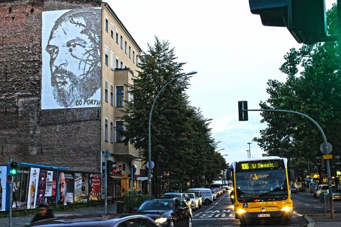 """Street Artist """"Vhils"""" aka Alexandre Farto from Lisbon Portugal hits Berlin. Vhils technique of creating his artwork is absolutely unique. What sounds like an action film is his usual way of creating art: By using jackhammers and even explosives to create his artworks. Vhils left 4 murals in the city on Berlin, showing portraits of his personal Berlin heroes.  Sven Marquardt  http://www.streetartbln.com/blog/berlin-street-artist-vhilz-aka-alexandre-farto-report-and-fotos-by-street-art-berlin/"""
