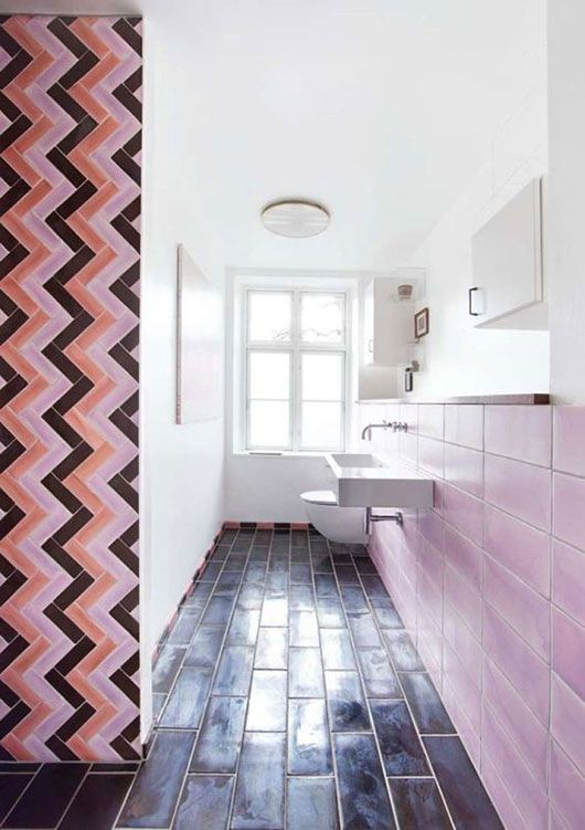 Cool And Cheap Bathroom Tile Arrangement Black Subway Tiles On Floor Pink On Wall