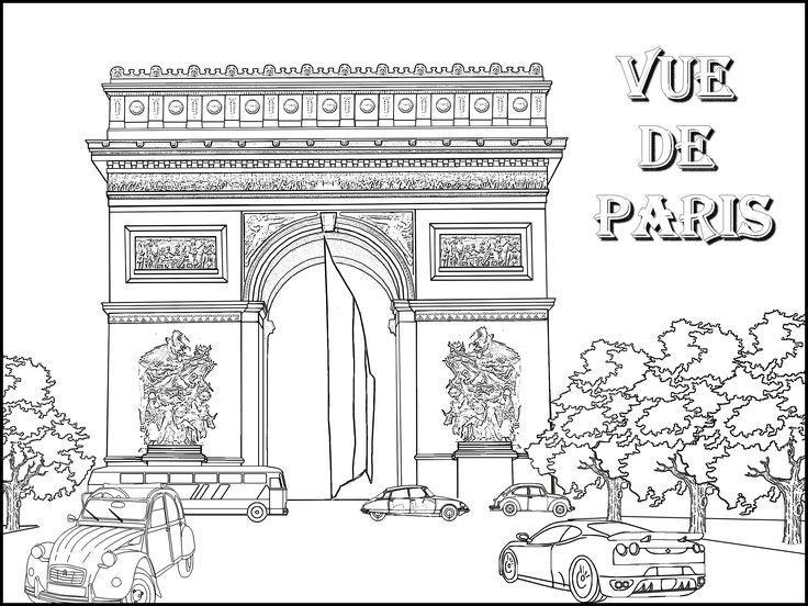 Epingle Par Dorothee Sur Coloriage Coloriage Paris Triomphe