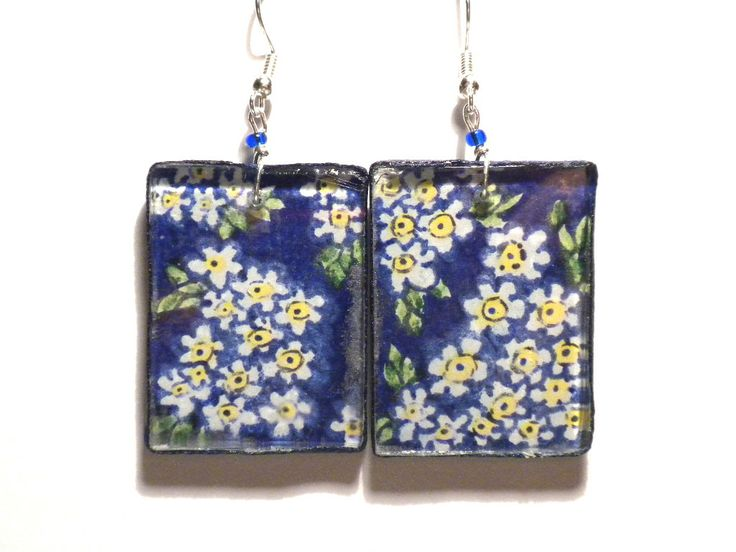 #earrings, #blue #handmade #drawing #forget-me-not