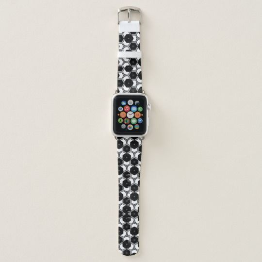 Black and White Geometry Hexagons Apple Watch Band