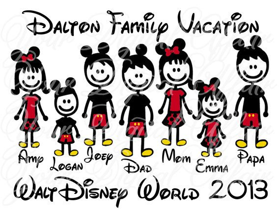 Personalized Stick Figure Family Vacation Disney World Names Figures Printable DIY Iron On Transfer on Etsy, $8.00