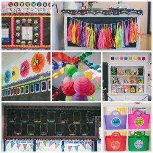 CLASSROOM decor theme, doodle art, Rainbow, bulletin board, chalkboard, classroom organization, flexible learning spaces, inspiration, kindergarten, watercolor, paper chains www.schoolgirlstyle.com