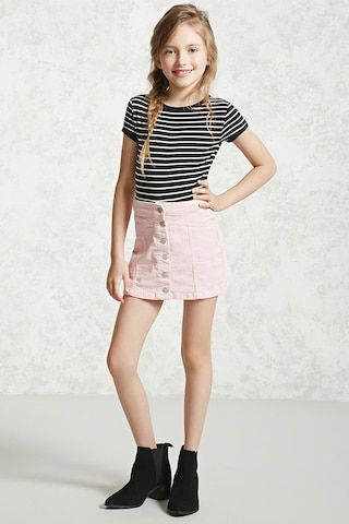 Forever 21 Girls - A knit ringer bodysuit featuring an allover striped pattern, contrast trim, a round neckline, short sleeves, and a snap-button closure.